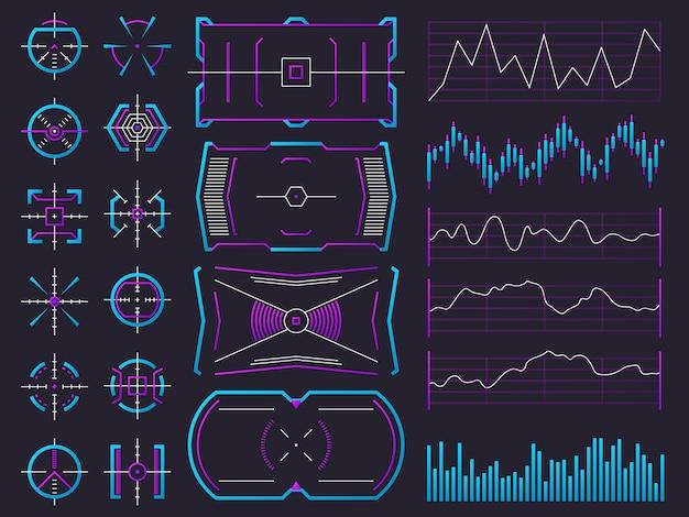 Grafiek, grafiek, interfacekaders en waarschuwingsregelaars Premium Vector