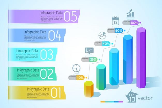 Grafiek infographic bedrijfsconcept met kleurrijke 3d zeshoekige kolommen vijf opties tekstbanners en pictogrammen illustratie Gratis Vector