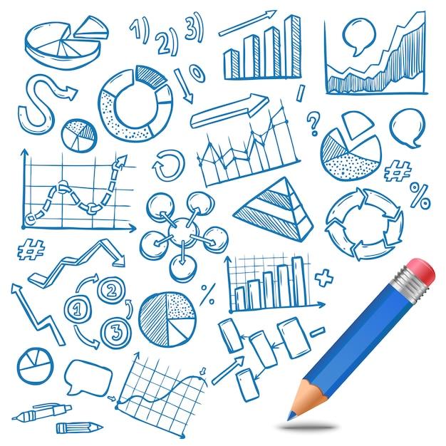 Grafieken en diagrammen schets Gratis Vector