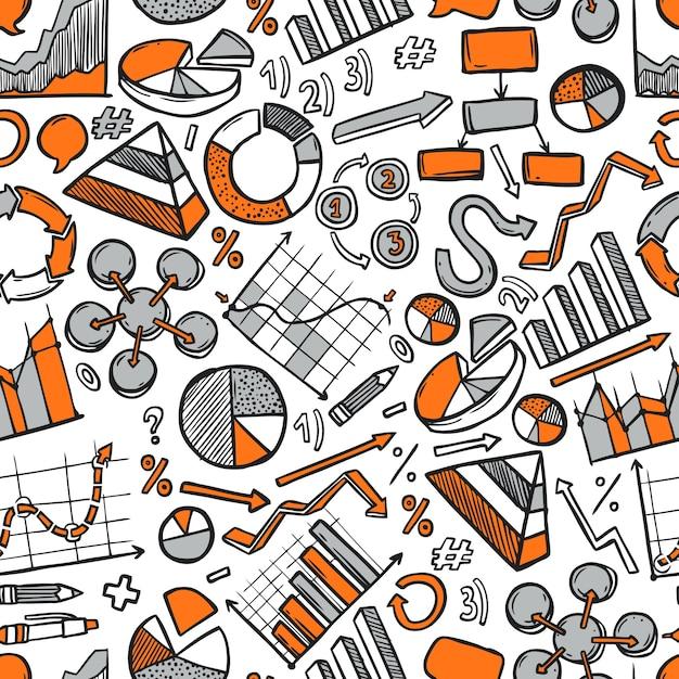Grafieken schets naadloos patroon Gratis Vector