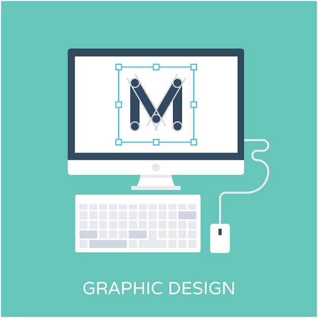 Grafisch ontwerp flat vector icon Premium Vector