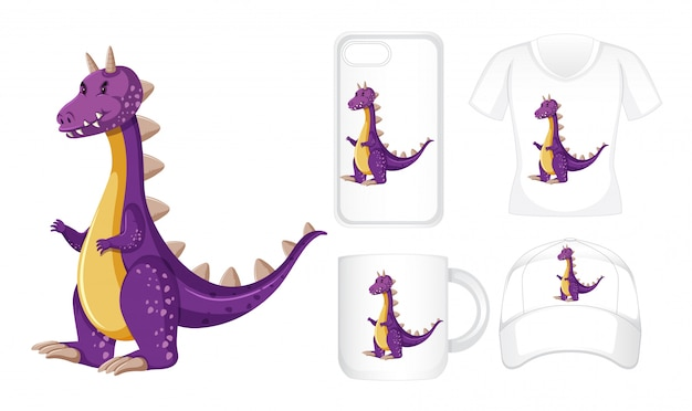 Grafisch ontwerp op verschillende producten met paarse draak Gratis Vector