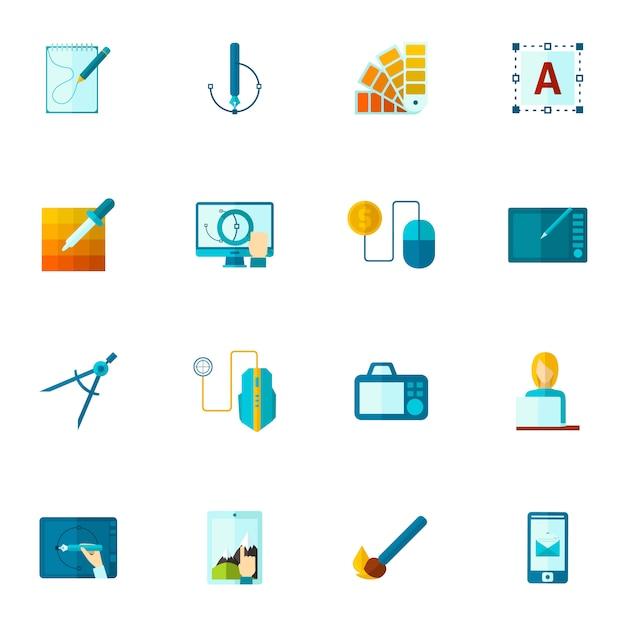 Grafisch ontwerp pictogrammen flat Gratis Vector
