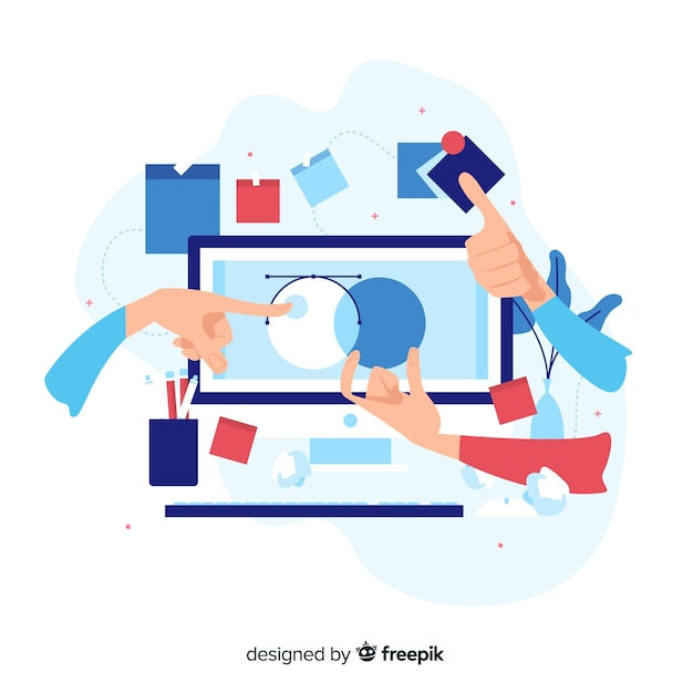 Grafisch ontwerp teamwork concept Gratis Vector