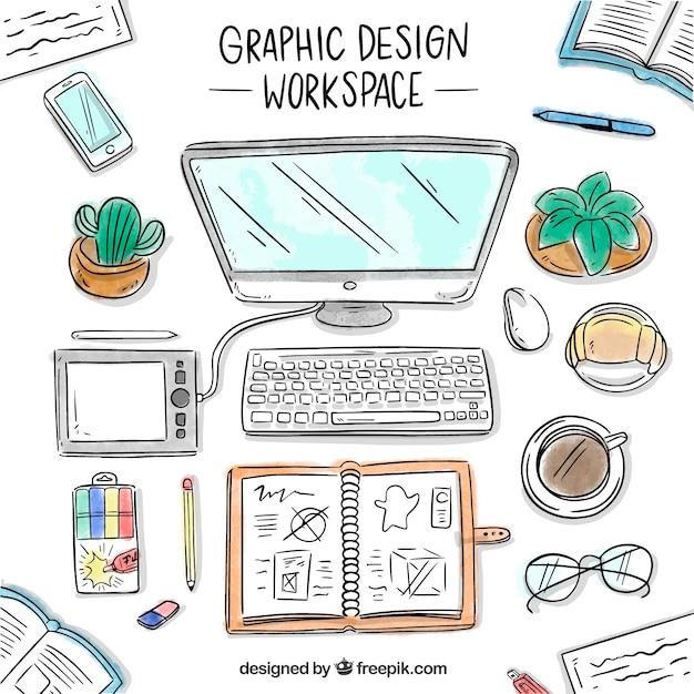 Grafisch ontwerp werkruimte achtergrond in de hand getrokken stijl Gratis Vector