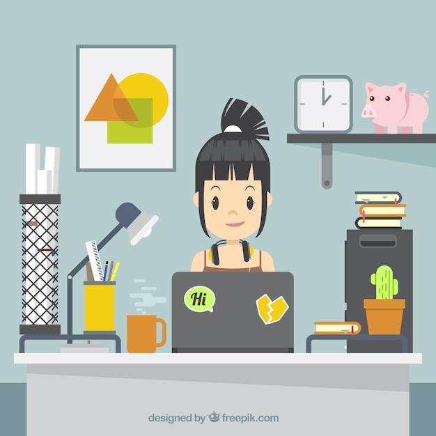 Grafisch ontwerp werkruimteachtergrond met bureau en hulpmiddelen Gratis Vector
