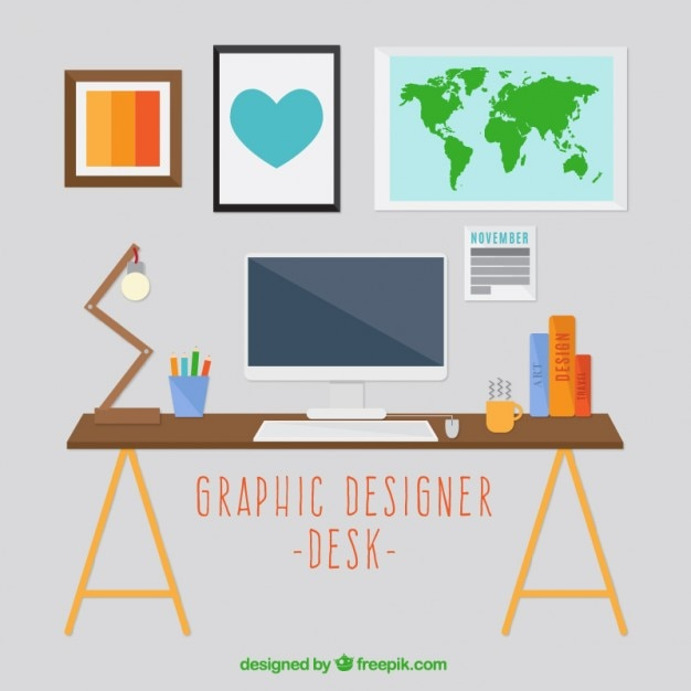 Grafisch ontwerper bureau decoratie vector gratis download - Decoratie bureau travail ...