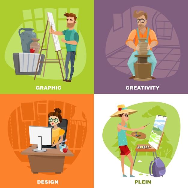 Grafisch ontwerper kunstenaar 4 pictogrammenvierkant Gratis Vector