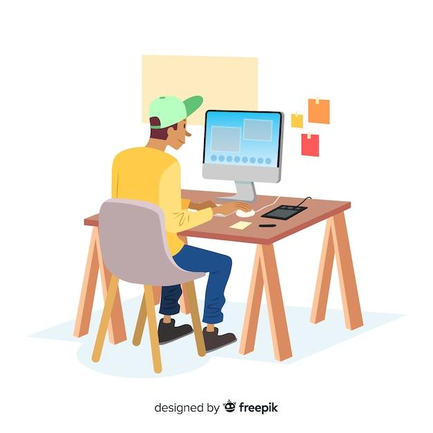 Grafisch ontwerper werkplek Gratis Vector