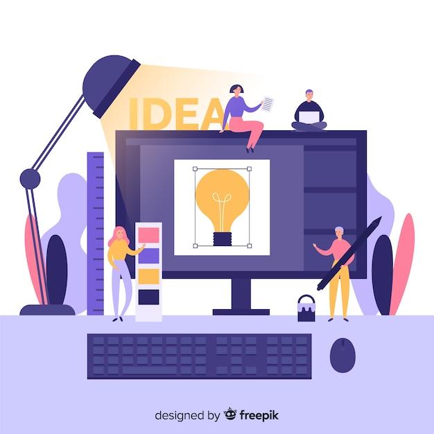 Grafisch ontwerpteam dat idee ontwikkelt Gratis Vector