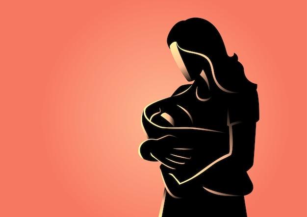 Grafisch silhouet van een vrouw die haar baby houdt Premium Vector