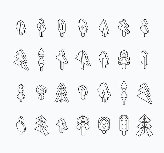 Grafische boom set, isometrische lijnstijl. maak een overzicht van lege geïsoleerde objecten. Premium Vector