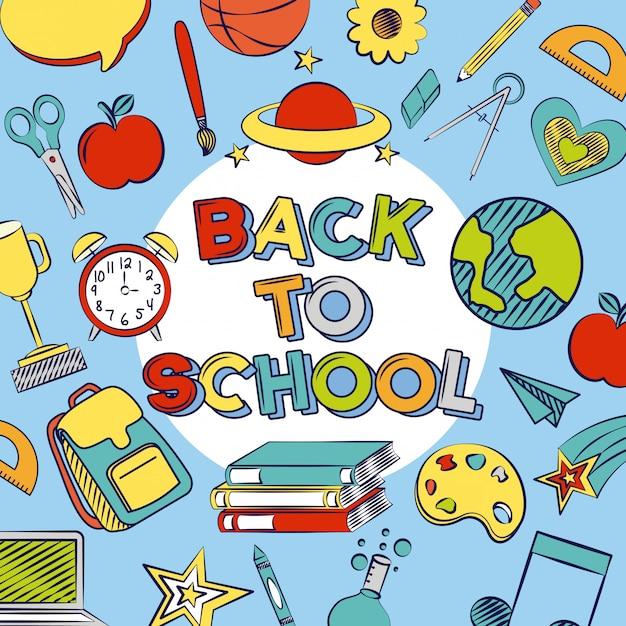 Grafische bronnen van terug naar school Gratis Vector