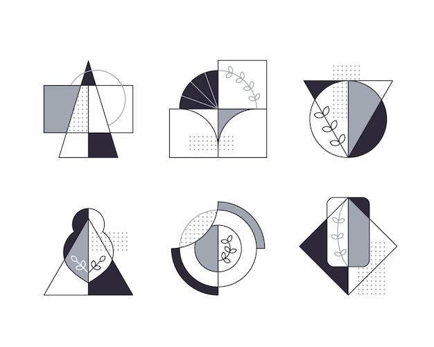 Grafische composities met lijnboompictogrammen. Premium Vector