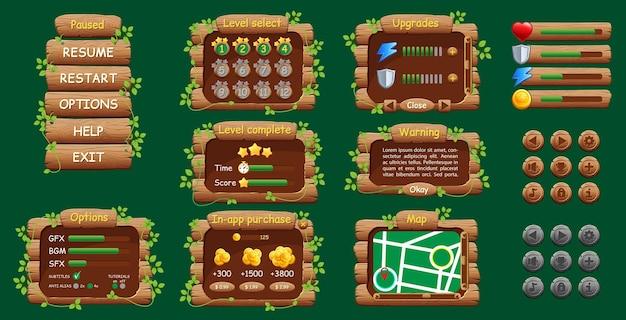 Grafische gebruikersinterface gui voor mobiele game of app. ontwerp, knoppen en pictogrammen. Premium Vector