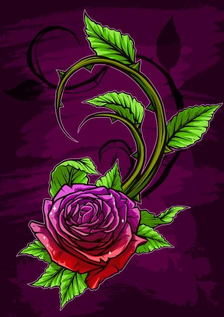 Grafische gedetailleerde cartoon violet roos met stengel Premium Vector