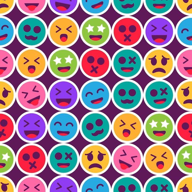 Grafische gekleurde emoticon naadloze patroon sjabloon Gratis Vector