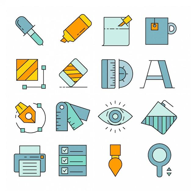 Grafische gereedschap en apparatuur pictogrammen Premium Vector