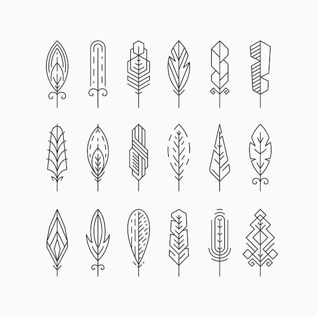 Grafische mono lijn veren set. elementen of lineaire tekens. geïsoleerd. Premium Vector
