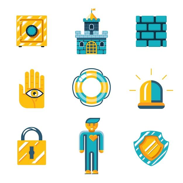 Grafische ontwerpen - set van symbolen voor veiligheid en verzekering in oranje en blauwgroene kleur op witte achtergrond. Gratis Vector