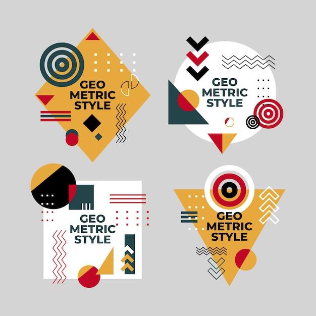 Grafische ontwerpetiketten in geometrische stijl Gratis Vector