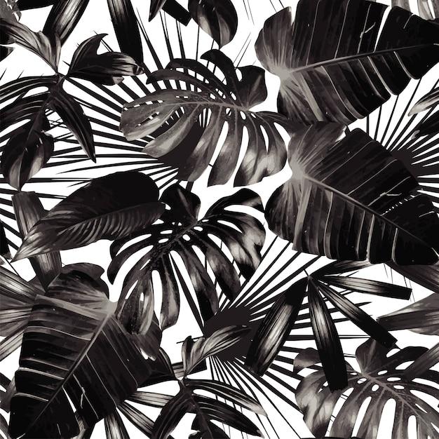 Grafische palmbladen naadloze achtergrond Premium Vector