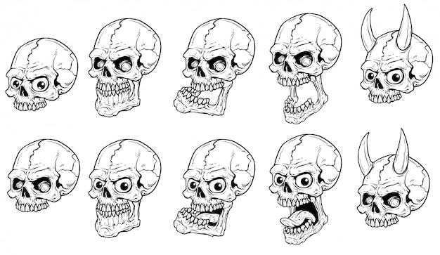 Grafische realistische enge menselijke schedels vector set Premium Vector