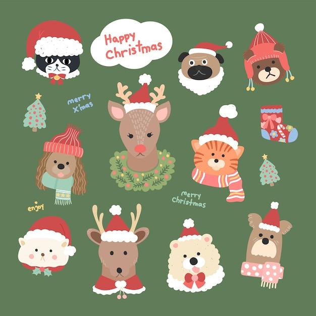Grafische vector schattige dierenkop collectie in kerst kleding kerstman hoed Premium Vector