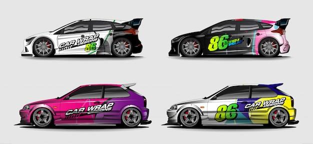 Grafische voertuigkit. abstracte gebogen achtergrond voor het ontwerp van raceauto's, bestelwagens en vrachtwagens Premium Vector