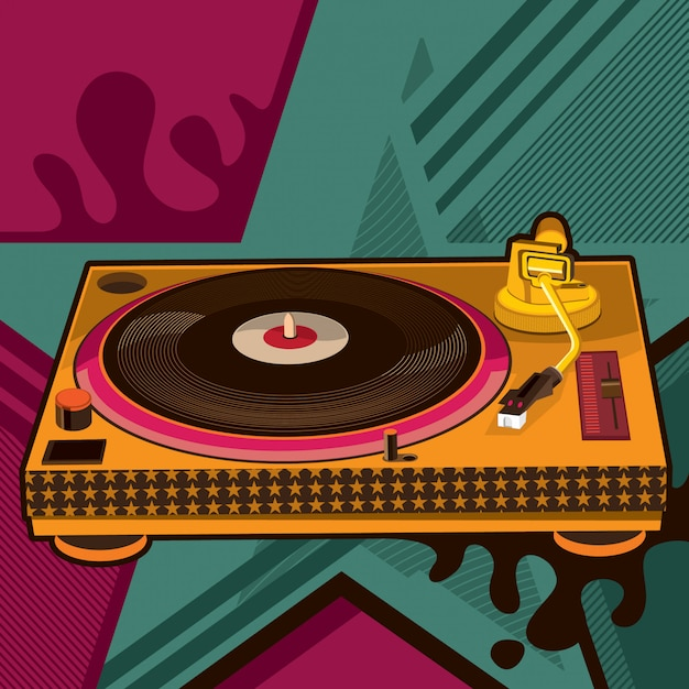 Grammofoon illustratie Premium Vector