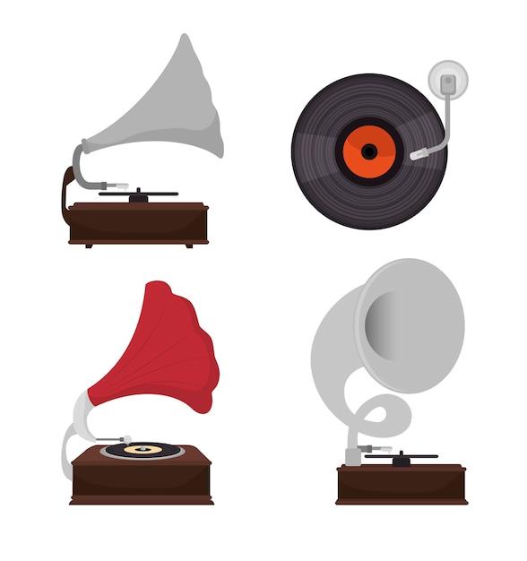 Grammofoons instellen geïsoleerde pictogram ontwerp Premium Vector