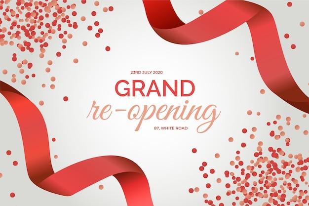 Grand heropening achtergrond rode confetti en linten Gratis Vector