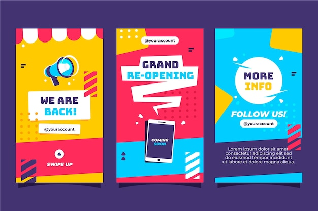 Grand heropening instagram verhalen Gratis Vector