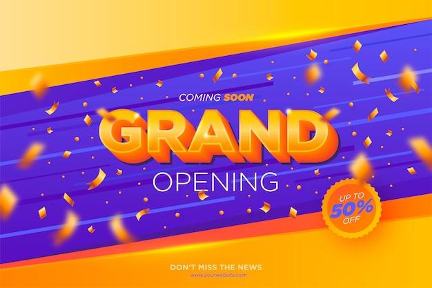 Grand opening banner met confetti Gratis Vector