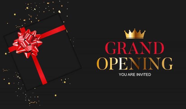 Grand opening card met lint Premium Vector