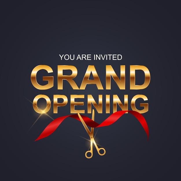 Grand opening kaart met lint achtergrond Premium Vector