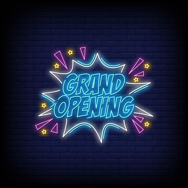 Grand opening neon sign tekst vector Premium Vector