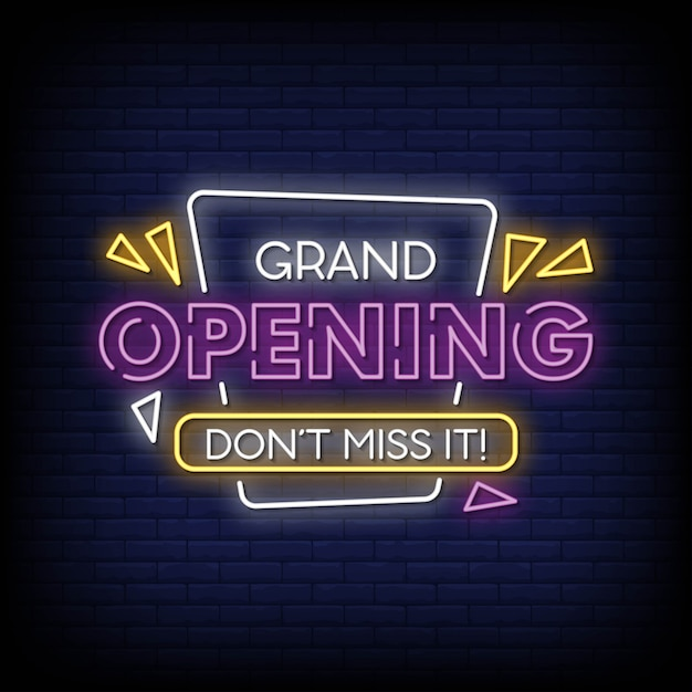 Grand opening neon signs style tekst vector Premium Vector