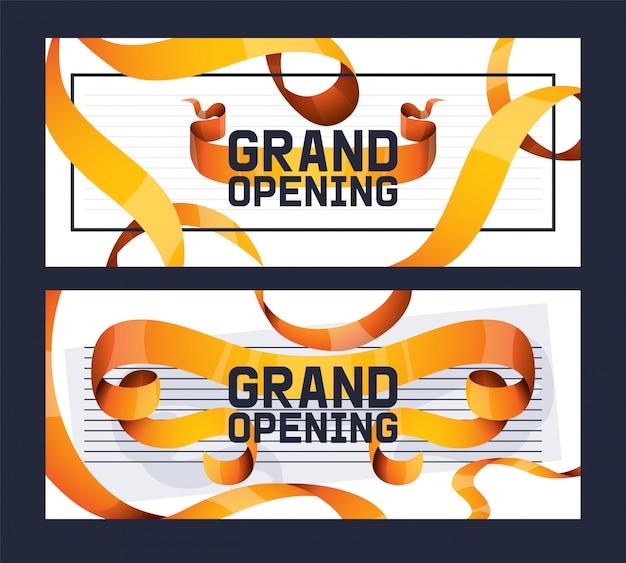 Grand opening van winkel, winkel advertentie set ofs. Premium Vector