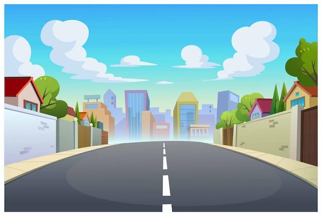Graphics, dorpen en wegen overdag. Premium Vector