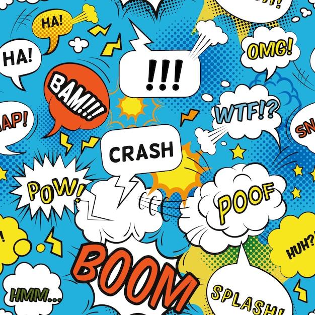 Grappig bellenpatroon met emotionele woorden en vlakke naadloze geluiden Gratis Vector