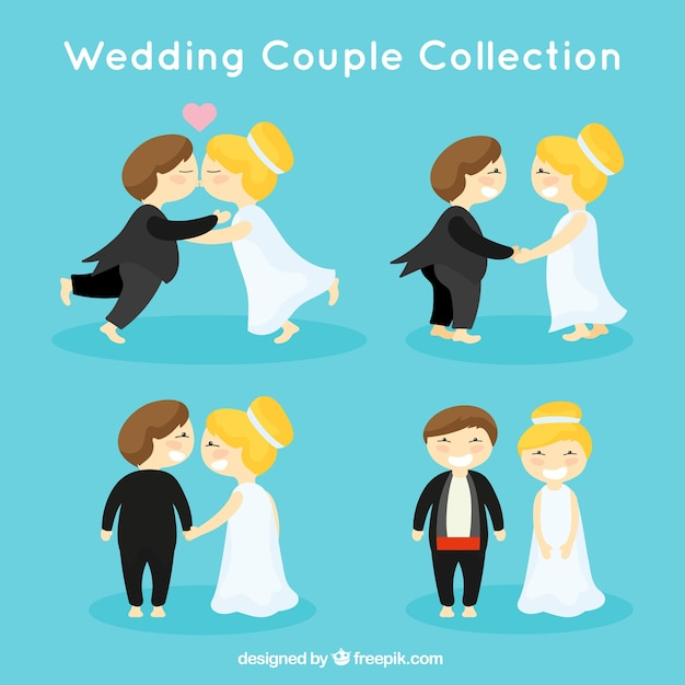 Grappig bruidspaar vector gratis download