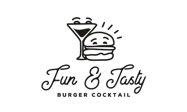 Grappig burger en cocktail-logo met hipster line art-stijl Premium Vector
