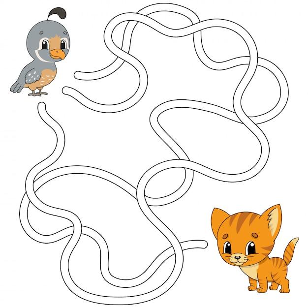 Grappig doolhof. spel voor kinderen. puzzel voor kinderen. cartoon stijl. labyrint raadsel. Premium Vector