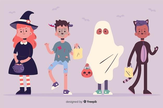Grappig en schattig halloween evenement kinderen set Gratis Vector