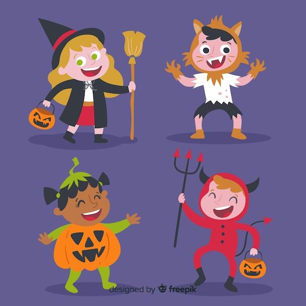 Grappig en schattig halloween kostuum kinderen set Gratis Vector