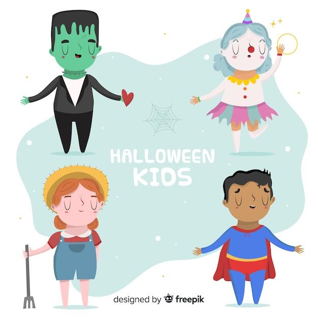 Grappig en schattig halloween nacht kinderen set Gratis Vector