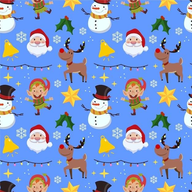Grappig kerst patroon met sneeuwpop en rendieren Gratis Vector