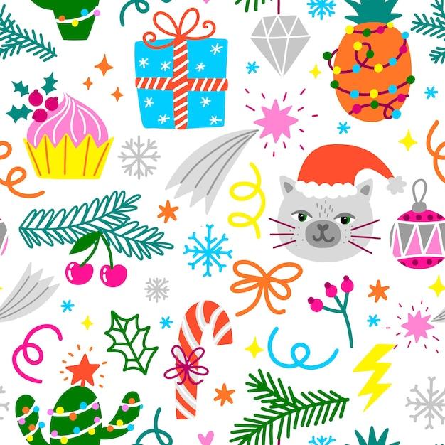Grappig kerst patroon Gratis Vector