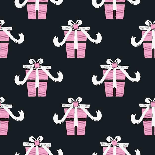 Grappig kerstmis naadloos patroon, grafische druk voor de lelijke partij van sweaterkerstmis, decoratie met giftdozen. Premium Vector
